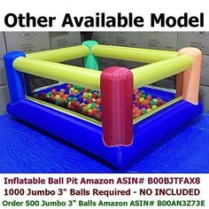 BALLS INCLUDED - My Bouncer Perfect Little Ball Pit Great for Indoor Use - Inflatable to L x W x H w/ Blower Pump ( 1000 Jumbo Balls Required, 500 Balls Included ) -- Read more at the image link. (This is an affiliate link) Indoor Forts, Playground Slide, Inflatable Bounce House, 3 Balls, Outdoor Play, Indoor Outdoor, Bouncers, Floor Space, Play Houses