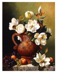 Still life painting 'Magnolias In Terra Cotta' by Fran Di Giacomo Oil Painting Flowers, Painting & Drawing, Watercolor Paintings, Painting Still Life, Still Life Art, Arte Floral, Graffiti Kunst, Kunst Poster, Pictures To Paint