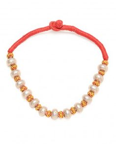 Red Knitted Necklace with Silver Beads