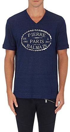 Pierre Balmain MEN'S LOGO STAMP COTTON T-SHIRT