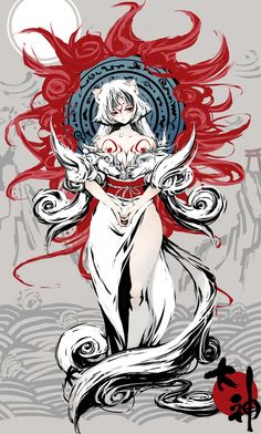 amaterasu animal_ears bodypaint breasts capcom cleavage flat_color highres japanese_clothes long_hair okami personification red_eyes tail tsunekun very_long_hair white_hair wolf_ears Anime Wolf, Manga Anime, Anime Art, Amaterasu, Character Concept, Character Art, Character Design, Japanese Mythology, Japanese Goddess