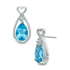 Pear-Shaped Blue Topaz and Diamond Accent Heart Stud Earrings in 10K White Gold