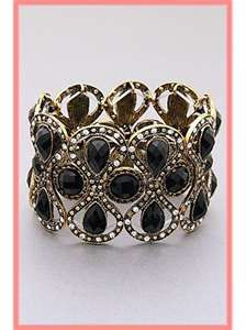 Vintage Accessories Costume Jewelry Deco Style Black Crystal