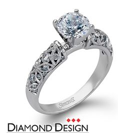 Delicate Collection  This gorgeous 18K white engagement ring is comprised of .35ctw round white Diamonds.