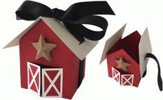Silhouette Design Store - View Design #80569: red barn favor box