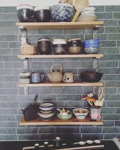 My kitchen: Custom shelving Japanese tableware Chinese teaset #metrotiles #china #Japanese #ikebana #izakaya #interiordesign #homesense #homesweethome #kitchendesign #kaiseki #craft #ellehome #countryhome #howdens #ikea by themoondoll