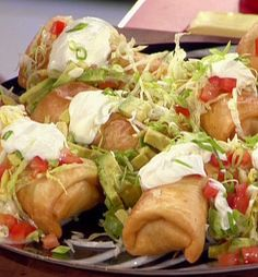 Food Network invites you to try this Top Notch Top Round Chimichangas recipe from Guy Fieri. Looks Yum! Mexican Dishes, Mexican Food Recipes, Ethnic Recipes, Mexican Appetizers, Spanish Recipes, Mexican Cooking, Wing Recipes, Party Appetizers, Burritos