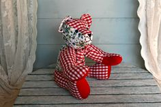 Red fabric teddy bear Floral & gingham cloth by crochetyknitsnbits