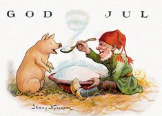Vingage Swedish Christmas card, with the tomte feeding a pig. Illustration by Jenny Nystrom, via Etsy.
