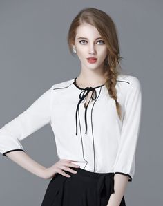 White V Neck 3/4 Sleeve Chiffon Blouse I found this beautiful item on VIPme.com.Check it out!