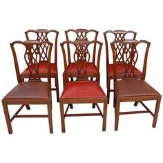 Set of Six Century George III Style Chairs in Mahogany with Leather Seats English Antique Furniture, Antique Armchairs, Vintage Dining Chairs, Leather Seats, Vintage Tableware, 19th Century, Antiques, Dining Rooms, Design
