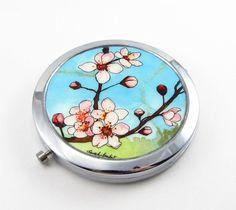 Japanese Cherry Blossoms, Original Art Compact Mirror ~