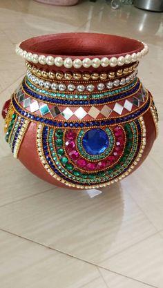 Kalash Decoration, Thali Decoration Ideas, Diwali Decorations, Festival Decorations, Flower Decorations, Wedding Decorations, Diy Crafts To Do, Diy Arts And Crafts, Creative Crafts