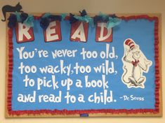 Discover and share Preschool Dr Seuss Quotes. Explore our collection of motivational and famous quotes by authors you know and love. Dr Seuss Bulletin Board, Reading Bulletin Boards, Preschool Bulletin Boards, Bulletin Board Display, Bullentin Boards, Dr. Seuss, Dr Seuss Week, Bulletins, Elementary Library