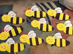 Bumblebee Door Decorations. Materials Needed: Black Construction Paper (stripes), Bright Yellow Paper (stripes and head), White Computer Paper (wings), Various Bright Colored Pipe Cleaners (antennas), Black Marker (write names and draw smile), Foam Letter Stickers (for name, optional)