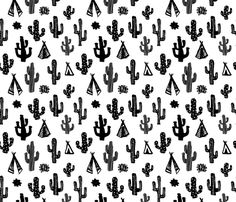 Black and white botanical cactus garden raw brush print  fabric - surface design by Little Smilemakers on Spoonflower - custom fabric and wallpaper inspiration for kids clothes fun fashion and trendy home decorations.