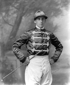 This is Waterford jockey, Jack Widger, togged out in his jockey silks. The Widger family had a large stabling, show jumping and horse racing enterprise based at Railway Square in Waterford City, Ireland, c. 1900