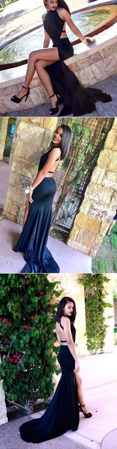 Dark Navy Chic Open Back Halter Side-Slit Satin Prom Dresses 2017