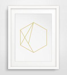 Minimalist Wall Art, Hexagon, Geometric Print, Hexagon Decor, Minimalist Art…