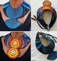 Cute collars African Fashion Dresses, African Print Fashion, African Attire, African Wear, African Dress, Rope Jewelry, Big Jewelry, Leather Jewelry, Jewelry Crafts