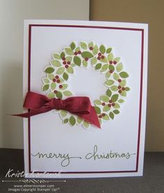 Gonna make a bunch of these this holiday season!    CAS Christmas Card featuring the Wondrous Wreath and coordinating framelits by Stampin' Up! Card created by Kristin Kortonick.