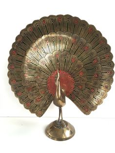 Vintage Brass Enameled Peacock by PendletonMarket on Etsy