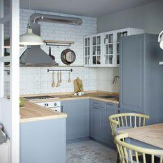 mini appartamento in azzurro, bianco e legno   la cucina strutturata a C