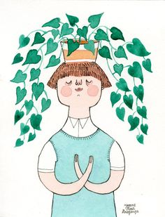A boy holds his beloved Sweetheart Plant (Philodendron scandens) on his head! I guess the leaves are an extension of his thoughts.    This