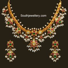 22 carat gold guttapusalu necklace set adorned with kundans and kesi pearls from…
