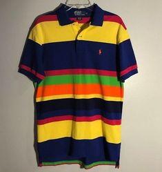Polo Ralph Lauren Multi-Color Striped Short Sleeve Polo Shirt Men Size M, EUC