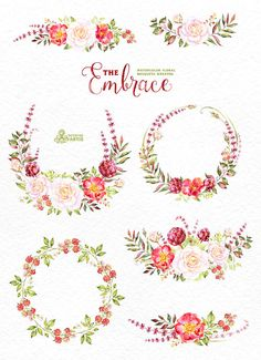 This set of high quality hand painted watercolor floral Bouquets and Wreaths. Perfect graphic for christmas greetings, wedding invitations, cards,