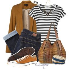 A fashion look from May 2015 featuring stripe tee, boyfriend blazer and slim jeans. Browse and shop related looks. Denim Converse, Outfits With Converse, Stylish Outfits, Cute Outfits, Parisienne Chic, Boyfriend Blazer, Jeans And Sneakers, Casual Chic, Casual Looks