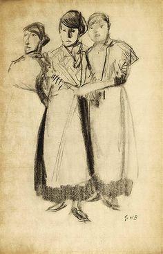 George Hendrik Breitner - THREE GIRLS; Creation Date:Circa 1905