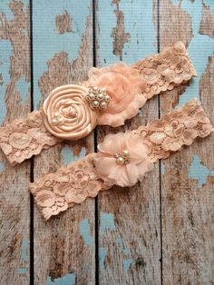 ROSE GOLD Wedding garter / BLUSH  garter by FallenStarCoutureInc, $24.99