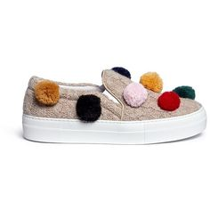 Joshua Sanders Pompom cable knit skate slip-ons (20,490 PHP) ❤ liked on Polyvore featuring shoes, sneakers, brown, pull-on sneakers, slip-on sneakers, pull on shoes, cable shoes and slip-on shoes