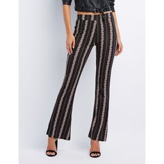 Charlotte Russe Printed Flare Pants ($20) ❤ liked on Polyvore featuring pants, black combo, striped pants, charlotte russe, elastic pants, stripe pants and floral print pants
