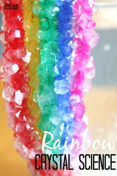 Grow a crystal rainbow with a super simple recipe using only two ingredients and bright pipe cleaners. Easy science, crystal rainbows are perfect for Spring