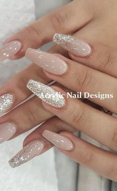 24 Cute and Awesome Acrylic Nails Design Ideas for 2019 - Page 2 of 24 - Nageldesign - Nail Art - Nagellack - Nail Polish - Nailart - Nails - Best Acrylic Nails, Cute Acrylic Nails, Glitter Nails, Cute Nails, Pretty Nails, Gel Nails, Coffin Nails, Nails 24, Nail Nail