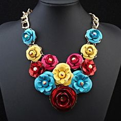 Colorful Flowers Statement Necklace Beautiful and new! Jewelry Necklaces