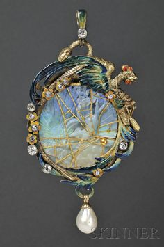 Fine Art Nouveau 18kt Gold, Carved Opal, Enamel, Pearl, and Diamond Pendant, the elaborately carved opal depicting a maiden in diaphanous garments diving into the sea against the sunrise, with applied wire cagework, in a polychrome enamel frame of a rooster and serpent, old European and old single-cut diamonds, and suspending a pearl drop, engraved accents, reverse of opal with open pierced floral backing, French and Austro-Hungarian import marks, lg. 3 5/8 dia. 1 7/8 in.