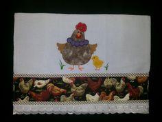 Pano de Prato Barrado e patch ap galinha