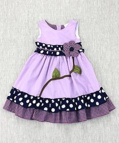 This Lilac Floral Ruffle-Hem A-Line Dress - Toddler