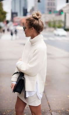 photo courtesy: Happily Grey Why it works: The off white tone on tone looks chic and crisp together. And the messy top bun finishes the look for an effortless feel. Get the look: Turtleneck, Off White Skirt, White Button Down Shirt. Fashion Mode, Look Fashion, Fashion Beauty, Street Fashion, Womens Fashion, Fashion Trends, Fall Fashion, Fashion Ideas, Fashion Outfits