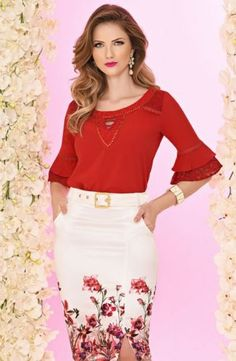 EXECUTIVA - Floratta Modas Office Outfits For Ladies, Stylish Work Outfits, Chic Outfits, Pretty Outfits, Casual Dresses, Fashion Dresses, Pencil Skirt Outfits, Full Figure Fashion, Classy Women