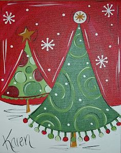 Cute Christmas tree canvas paint idea for wall decor. Red, green, and white. Christmas Paintings On Canvas, Holiday Canvas, Christmas Tree Painting, Tree Paintings, Painted Christmas Tree, Whimsical Christmas Art, Christmas Tree Canvas, Christmas Wall Art, Xmas Tree