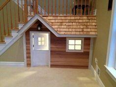 Kids Indoor Playhouse, Build A Playhouse, Under Stairs Playhouse, Playhouse Ideas, Dog Houses, Play Houses, Future House, Kids Basement, Basement Ideas