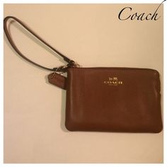 Coach wristlet in brown leather -gorgeous NWT NWT Gorgeous smooth brown wristlet with card pockets inside. This wallet is just so gorgeous and smooth I could just sit and pet it  but instead I'm selling it . BUNDLE UP & SAVE 10% on TOTAL PURCHASE & $$ on shipping  Coach Bags Clutches & Wristlets
