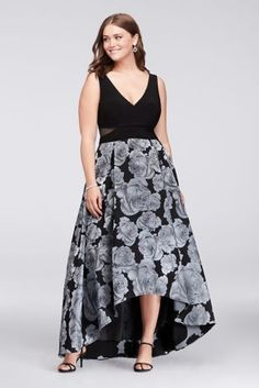 6f290d792021b Blue roses bloom on the full jacquard skirt of this jersey-bodice plus-size  ball gown. Mesh cutouts at the sides add a modern touch. By Xscape  Polyester ...