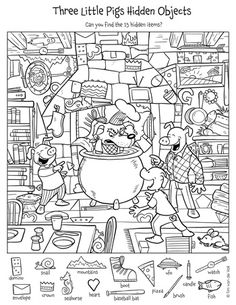 Hidden Picture Puzzles Pages - Hidden Picture Puzzles Pages, Hidden Pictures Printables.highlights In the Classroom. Hidden Object Puzzles, Hidden Picture Puzzles, Hidden Pictures Printables, Find The Hidden Objects, Find Objects, Three Little Pigs, Math Worksheets, Colouring Pages, Kids Colouring