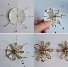 Must See String Art Wedding Ideas - Mon Cheri Bridals Finding and sharing the very best wedding inspiration from Bridal Make-up ,Wedding Hairstyles, real wedding photos to rustic wedding and DIY wedding ideas Twine Flowers, Diy Flowers, Fabric Flowers, Paper Flowers, Twine Crafts, Diy And Crafts, Arts And Crafts, Burlap Projects, Diy Wedding